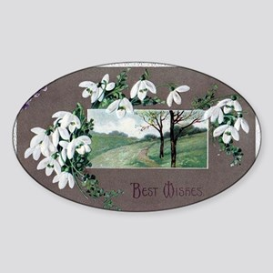 Best Wishes Violets Sticker (Oval)