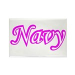 Pink and White Navy ver4 Rectangle Magnet (100 pa