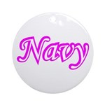 Pink and White Navy ver4 Ornament (Round)