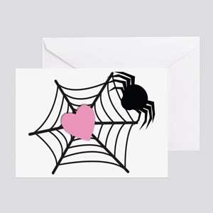 Spider with a love heart Greeting Card
