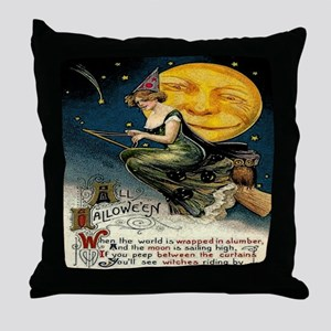 Vintage Halloween Witch Broom Full Mo Throw Pillow