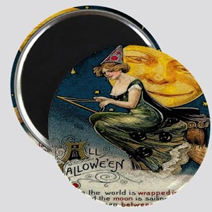 Vintage Halloween Witch Broom Full Moon Magnet