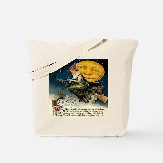 Vintage Halloween Witch Broom Full Moon Tote Bag