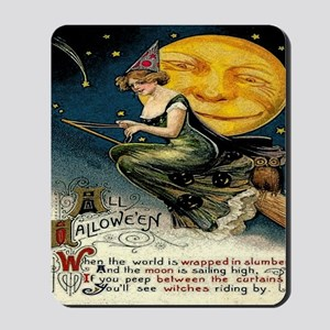 Vintage Halloween Witch Broom Full Moon Mousepad