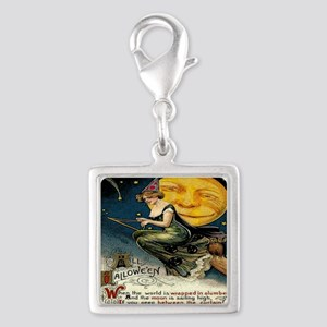 Vintage Halloween Witch Broom Silver Square Charm