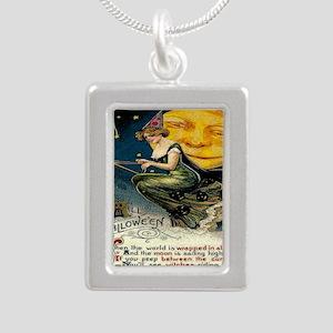 Vintage Halloween Witch  Silver Portrait Necklace