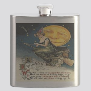 Vintage Halloween Witch Broom Full Moon Flask