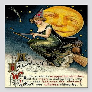 """Vintage Halloween Witch  Square Car Magnet 3"""" x 3"""""""