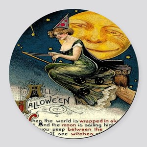 Vintage Halloween Witch Broom Ful Round Car Magnet
