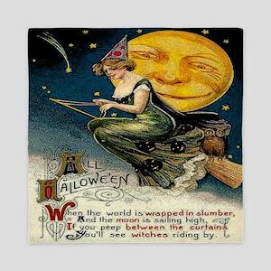 Vintage Halloween Witch Broom Full Moo Queen Duvet