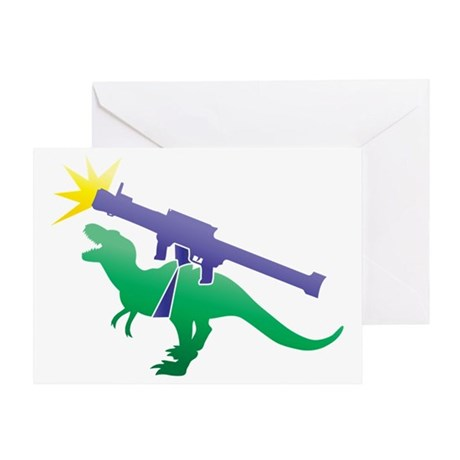 Tyrannosaurus Rex with a rocket gren Greeting Card
