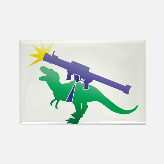 Tyrannosaurus Rex with a rocket g Rectangle Magnet