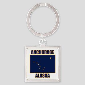 Anchorage Alaska Square Keychain