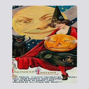 Vintage Halloween Witch Black Cat Mo Throw Blanket