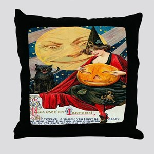 Vintage Halloween Witch Black Cat Moo Throw Pillow