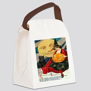 Vintage Halloween Witch Black Cat Canvas Lunch Bag