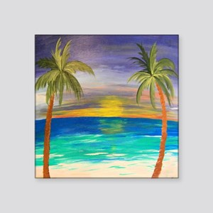 "Tropical Sunset Square Sticker 3"" x 3"""