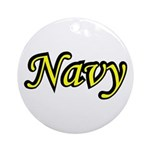 Yellow and Black Navy Ornament (Round)