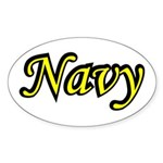 Yellow and Black Navy Oval Sticker