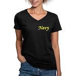 Yellow and Black Navy Women's V-Neck Dark T-Shirt