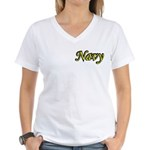 Yellow and Black Navy Women's V-Neck T-Shirt