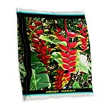 Hawaiian Torch Heliconia lower Burlap Throw Pillow