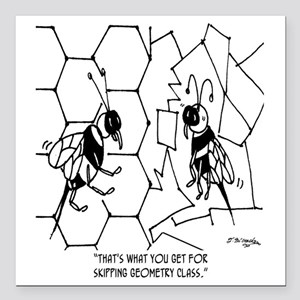 """Bee Skips Geometry Class Square Car Magnet 3"""" x 3"""""""