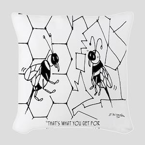 Bee Skips Geometry Class Woven Throw Pillow