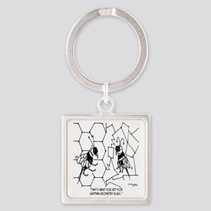 Bee Skips Geometry Class Square Keychain