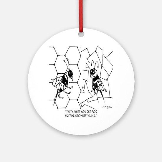 Bee Skips Geometry Class Round Ornament