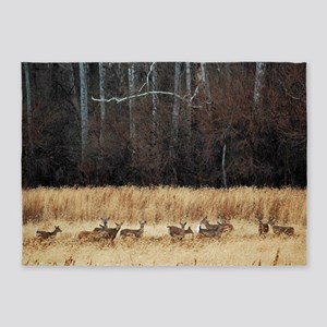 Winter Deer Herd 5'x7'Area Rug