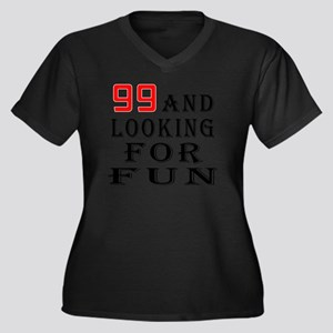 99 and looki Women's Plus Size V-Neck Dark T-Shirt