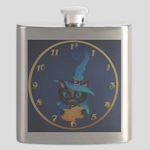 wallclock Blue Witch Kitty Flask