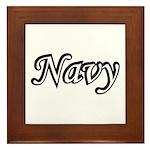 Black and White Navy Framed Tile