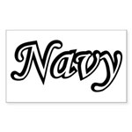 Black and White Navy Rectangle Sticker