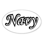 Black and White Navy Oval Sticker