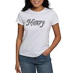 Black and White Navy Women's T-Shirt