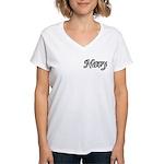 Black and White Navy Women's V-Neck T-Shirt