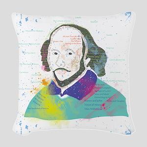 Portrait of William Shakespear Woven Throw Pillow