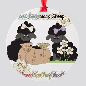 Baa Baa Black Sheep  Round Ornament