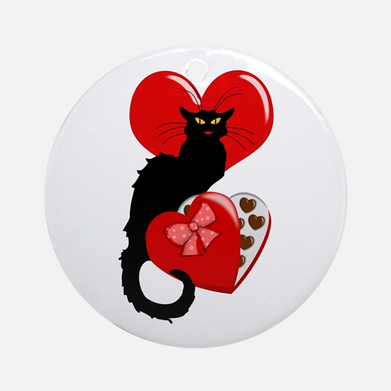 Le Chat Noir with Chocolate Candy Gift Ornament (R