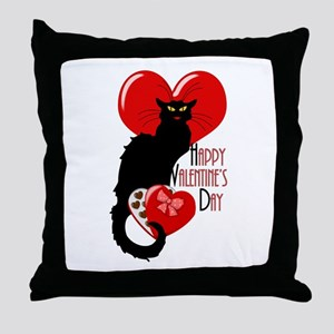 Happy Valentine's Day Le Chat Noir Throw Pillow