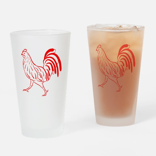 Red Rooster Drinking Glass