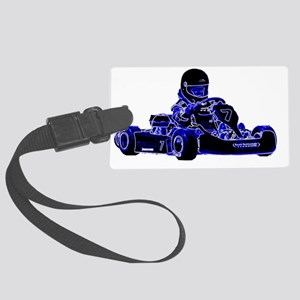 Kart Racing Blue and White Large Luggage Tag