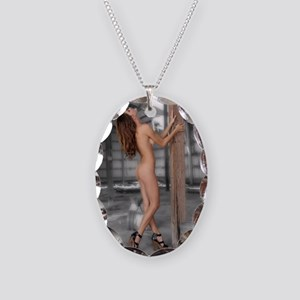 Beautiful Nude Brunette in an  Necklace Oval Charm