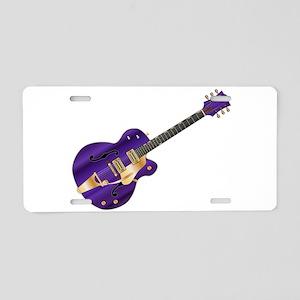 Purple Guitar Aluminum License Plate