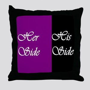 Her Side: His Side , purple, black Throw Pillow