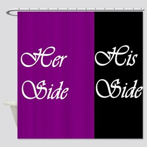 Her Side: His Side , purple, black Shower Curtain