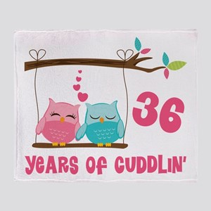36th Anniversary Owl Couple Throw Blanket