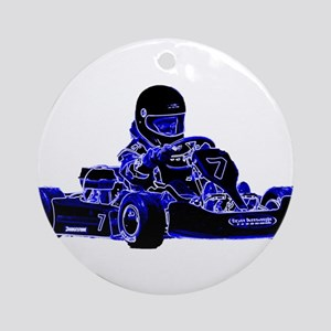 Kart Racing Blue and White Ornament (Round)